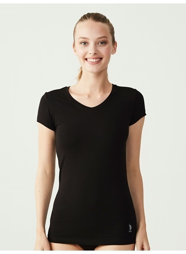 U.S. Polo Assn. Kısa Kollu V-Yaka T-Shirt Siyah